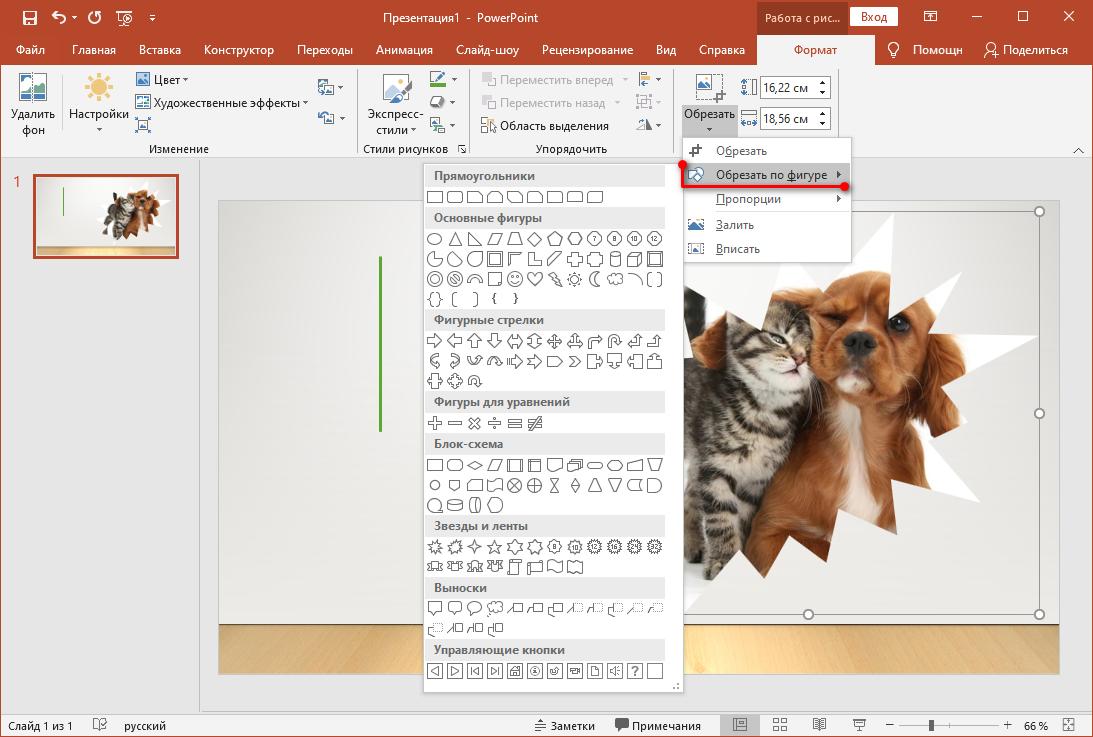 Как изменить офрму изображения в PowerPoint